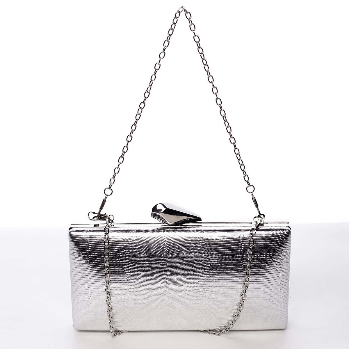 Elegantní matné dámské psaníčko stříbrné - Michelle Moon Elegance