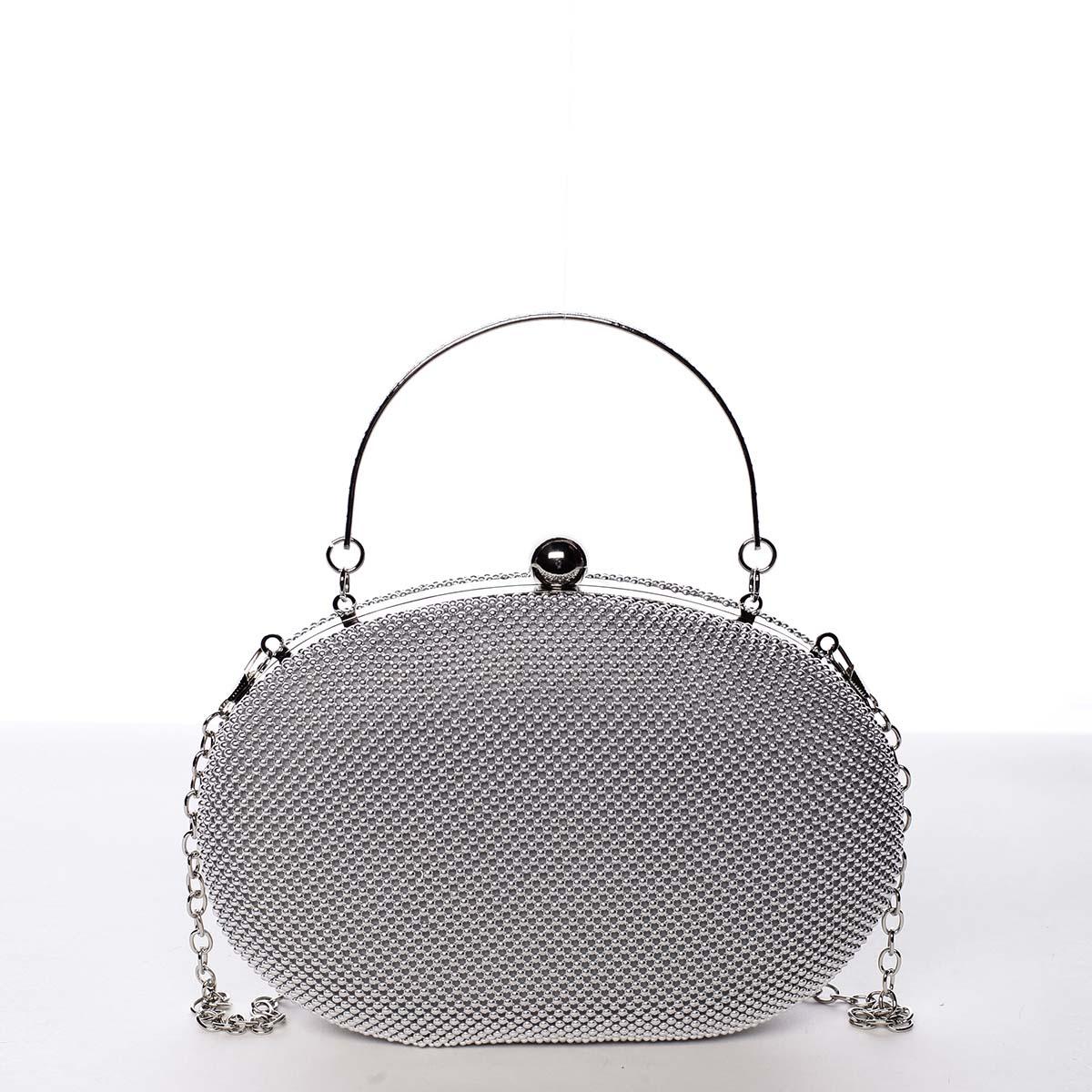 Módní oválné dámské perleťové psaníčko stříbrné - Michelle Moon Circle