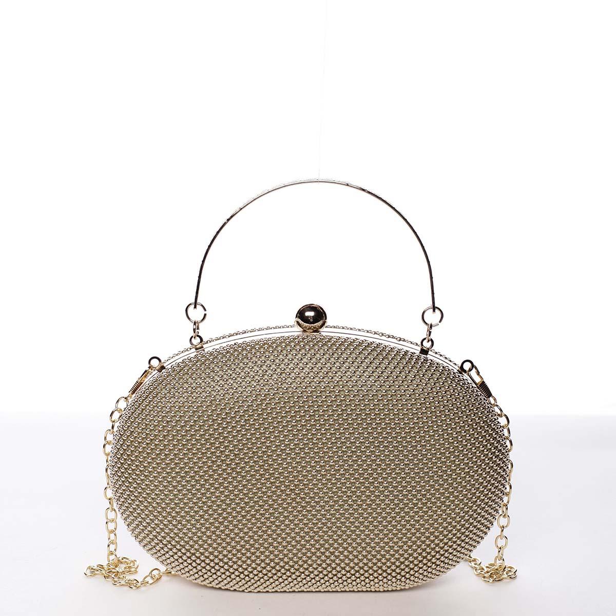 Módní oválné dámské perleťové psaníčko zlaté - Michelle Moon Circle