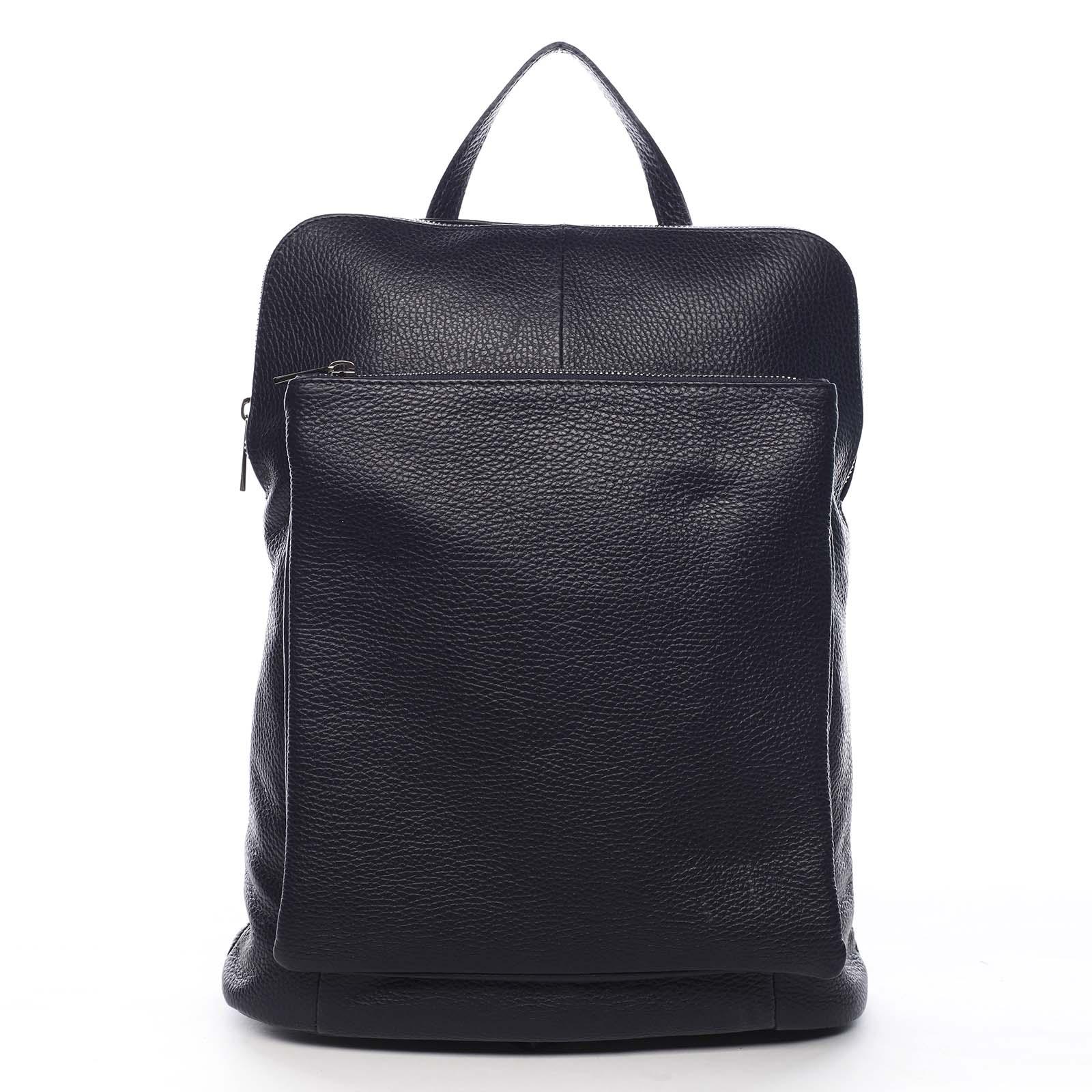 Dámský kožený batůžek kabelka černý - ItalY Houtel