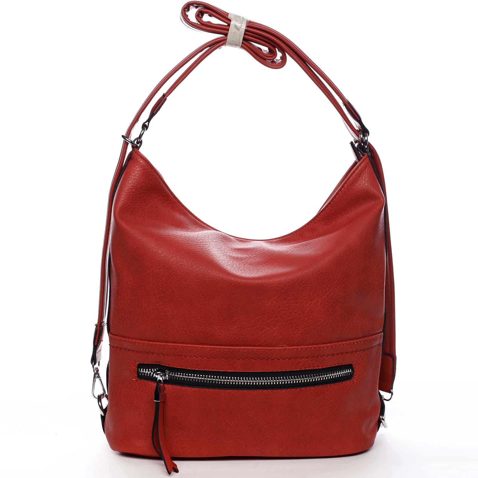 Dámská kabelka batoh červená - Romina Nikka