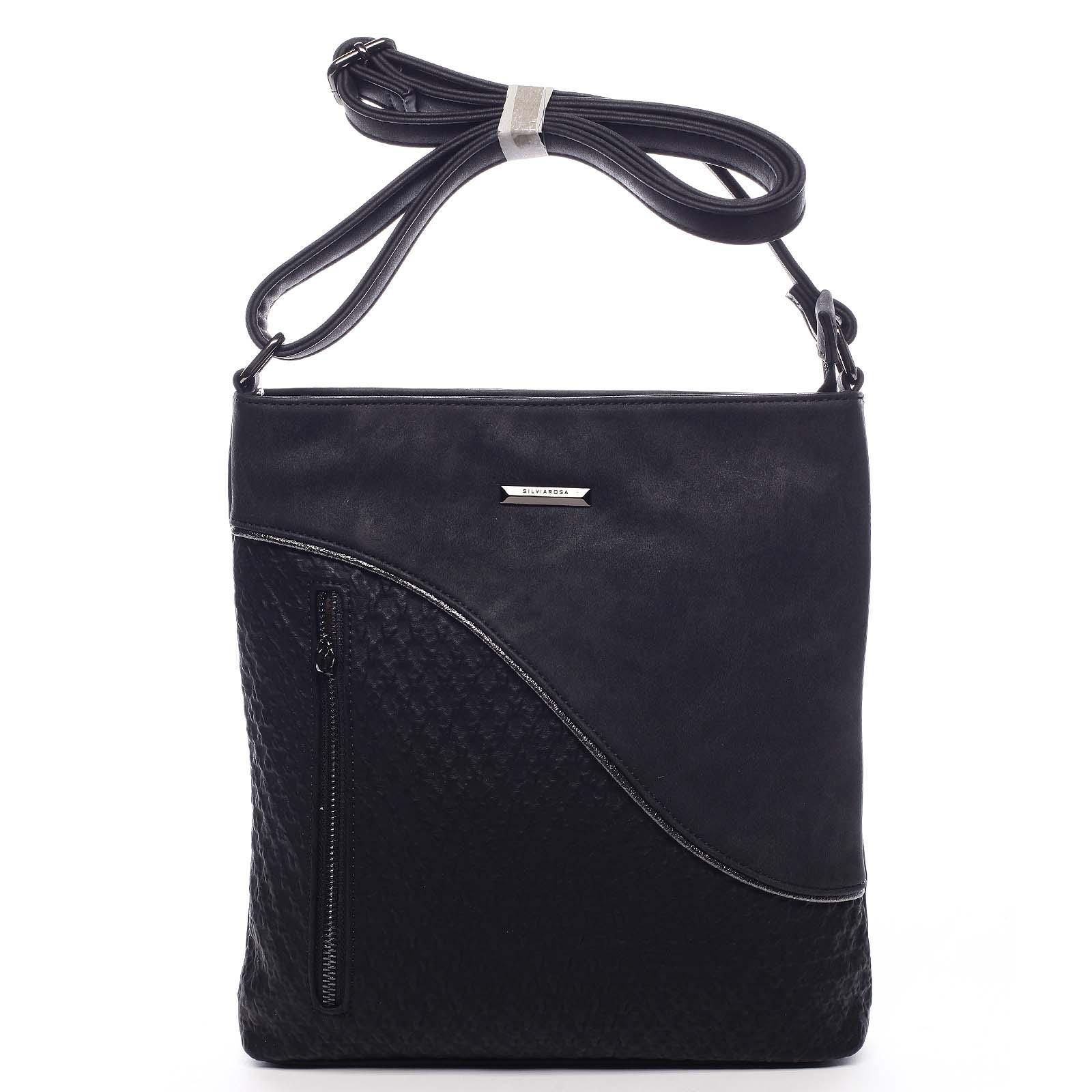 Stylová a módní černá crossbody kabelka - Silvia Rosa Soffi