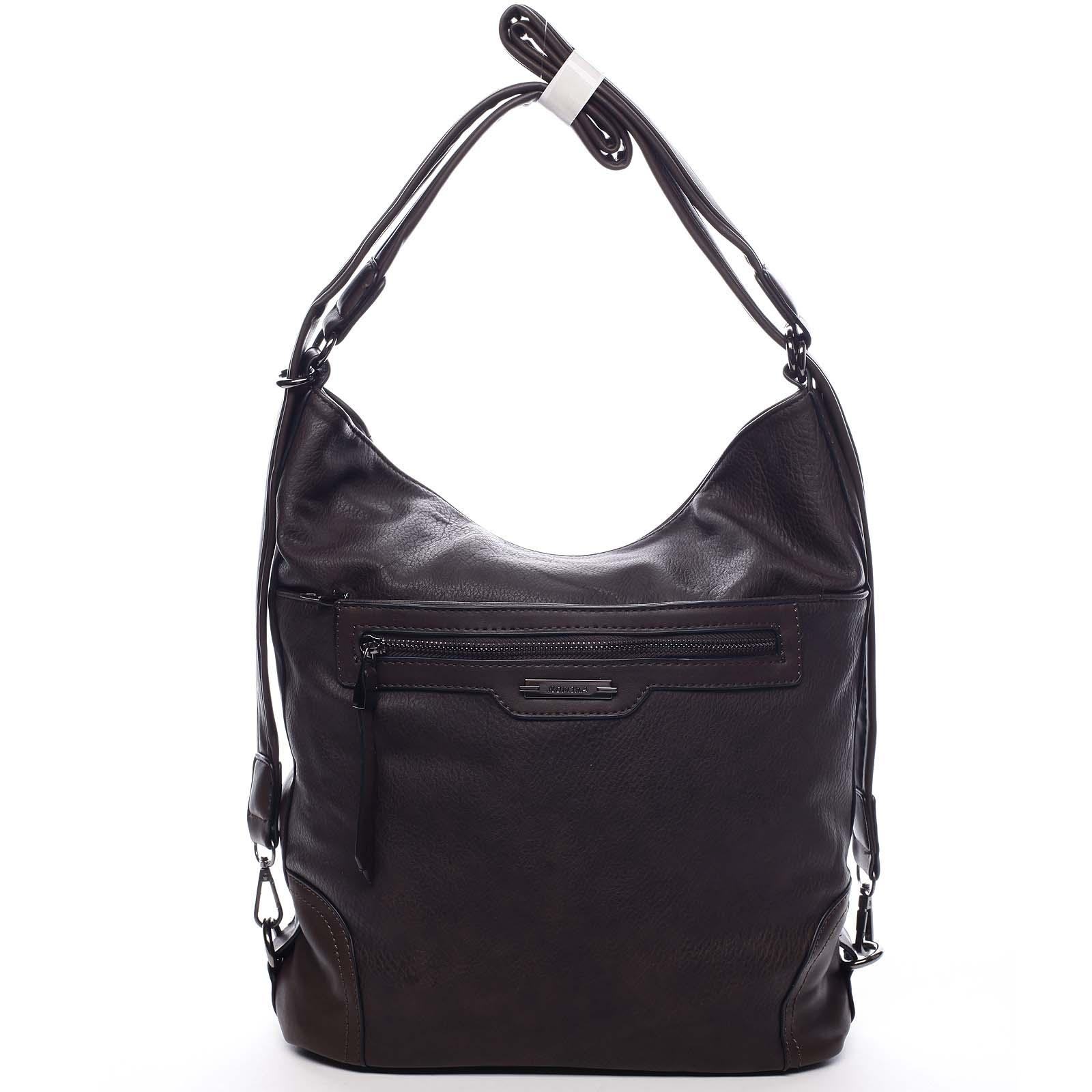 Dámská kabelka batoh kávově hnědá - Romina Zilla
