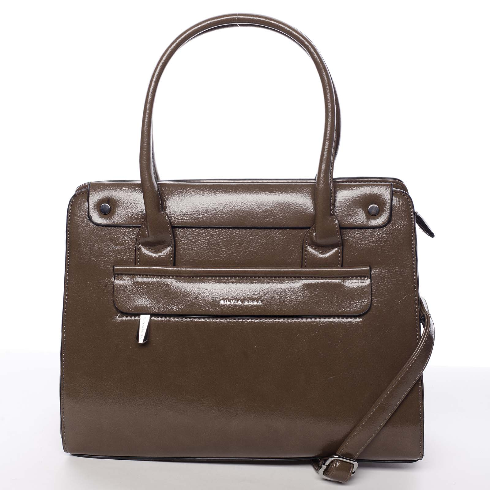 Elegantní pevná dámská kabelka do ruky tmavá taupe - Silvia Rosa Takeon