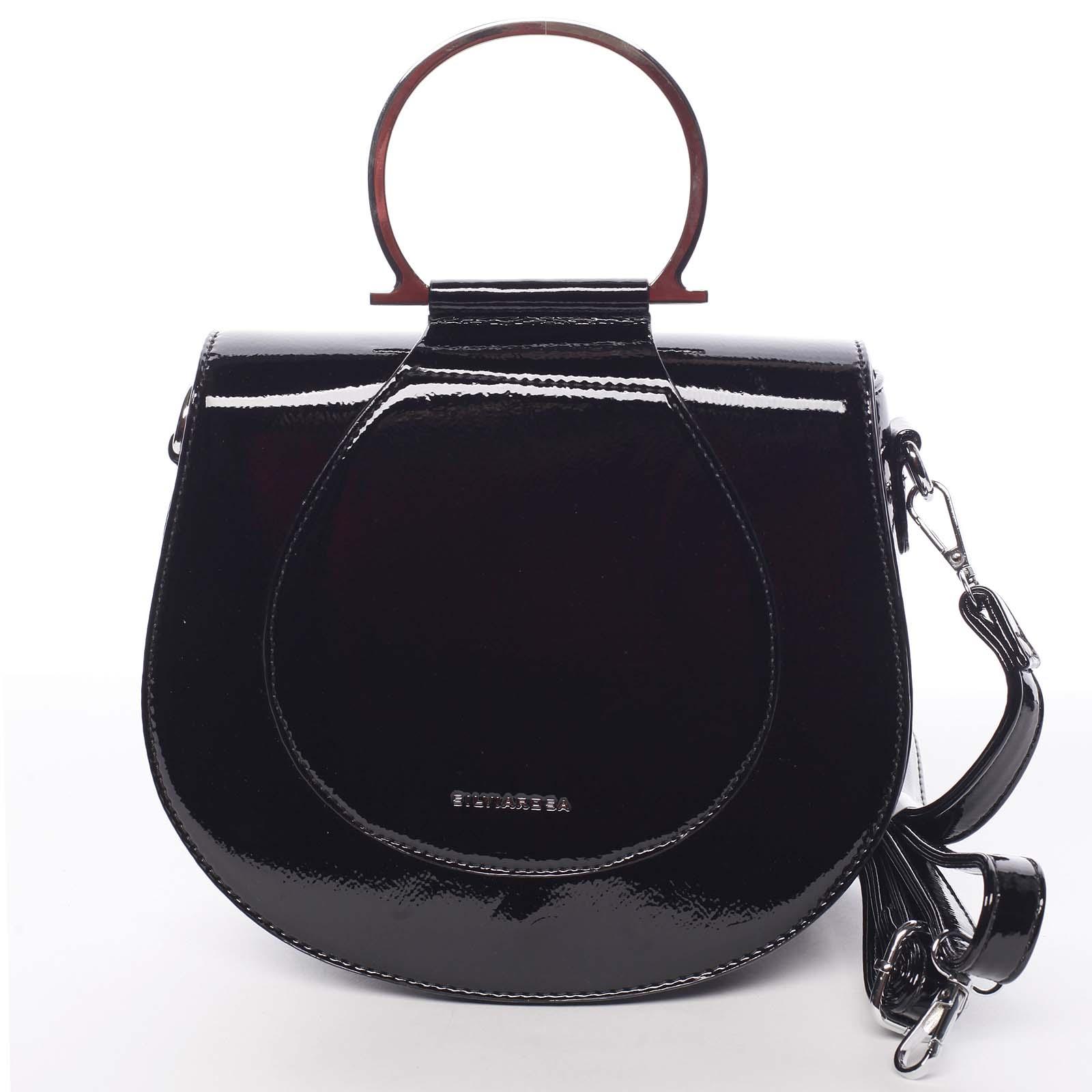 Originální dámská lakovaná crossbody kabelka černá - Silvia Rosa Sherise