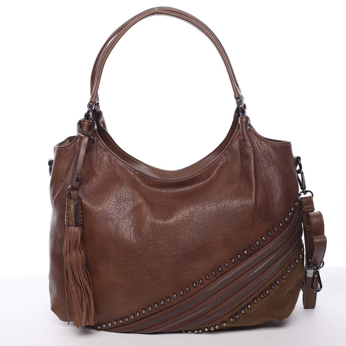 Originální dámská kabelka přes rameno hnědá - MARIA C Xanthia