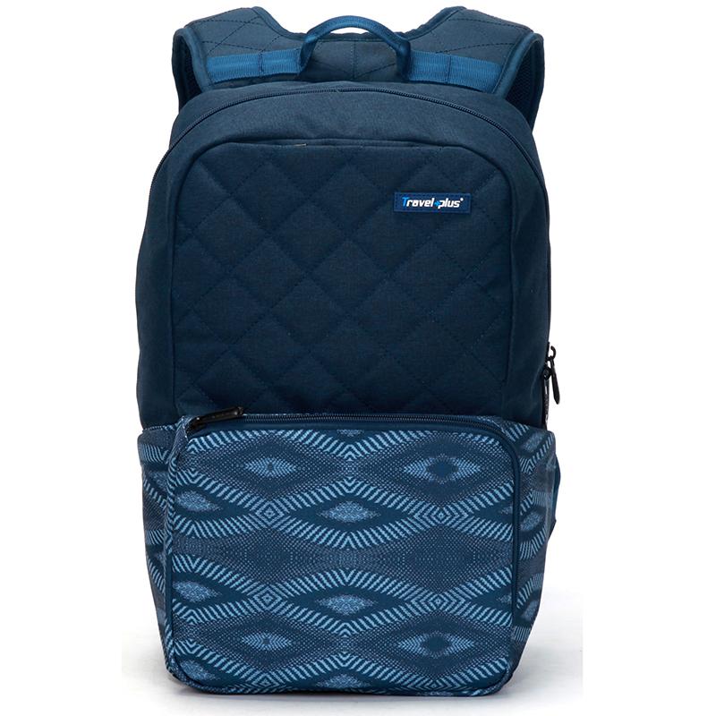 Módní cestovní modrý batoh - Travel plus 0106