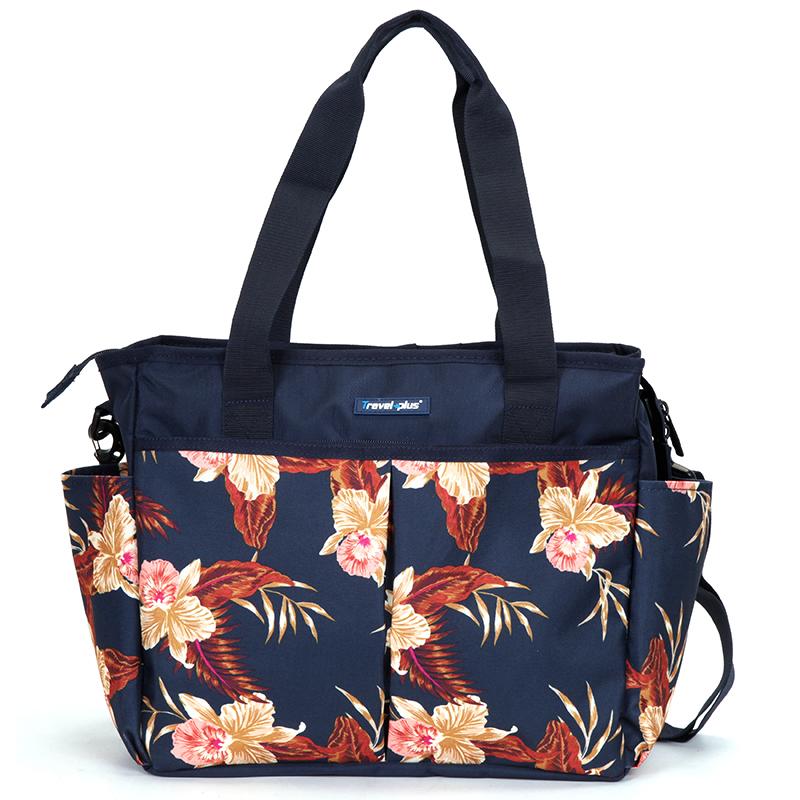 Dámská cestovní taška tmavě modrá květinová - Travel plus 7501