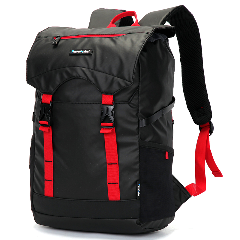 Vodě odolný turistický černo červený batoh - Travel plus 0616