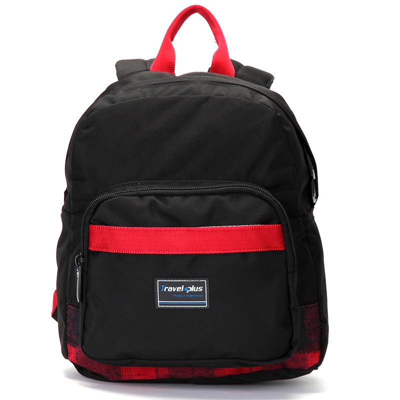 Střední dámský černo červený batoh na výlety - Travel plus 0643