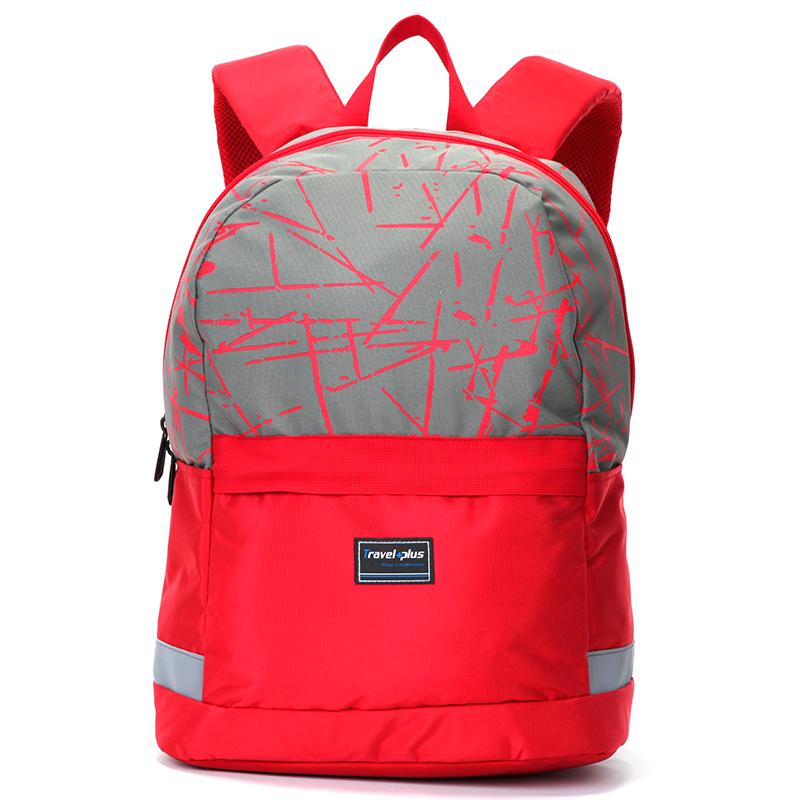 Moderní červeno růžový školní a cestovní batoh - Travel plus 0129