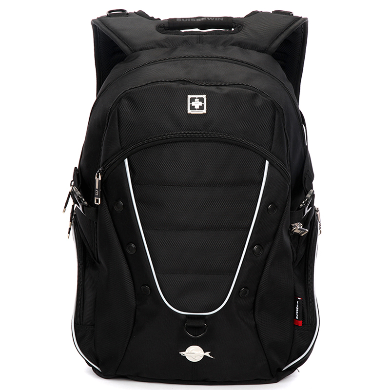 Luxusní kvalitní černý turistický a sportovní batoh - Suissewin 1615