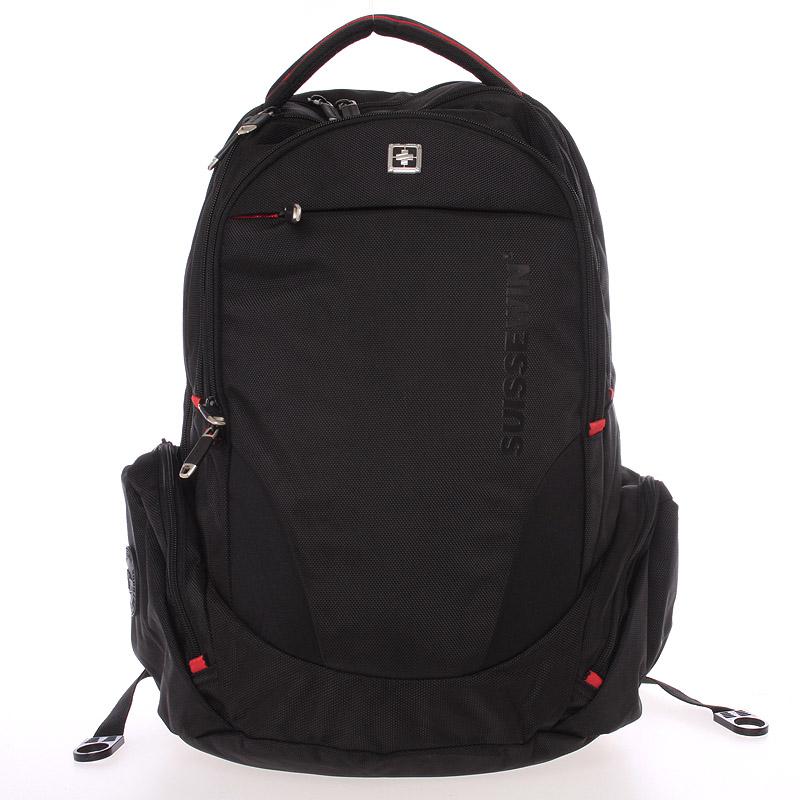 Velký luxusní multifunkční prodyšný batoh černý - Suissewin 8118