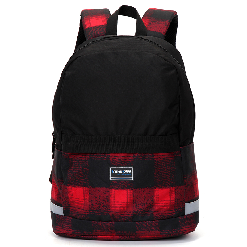 Moderní černo červený školní a cestovní batoh - Travel plus 0129