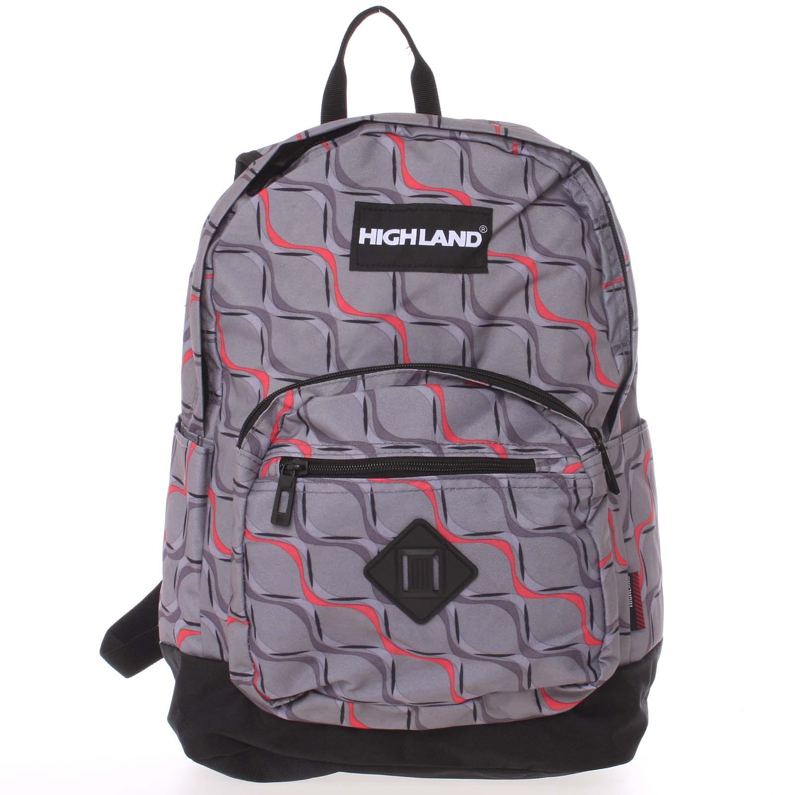 Velký šedě barevný originální a stylový batoh - Highland 8275