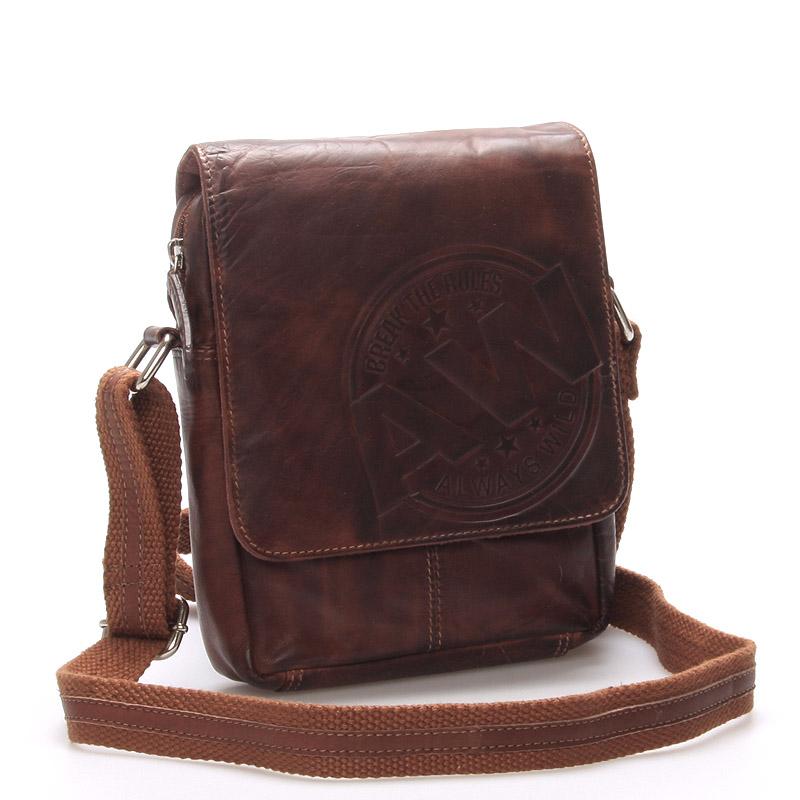 Pánská kožená taška na doklady hnědá - WILD Connor