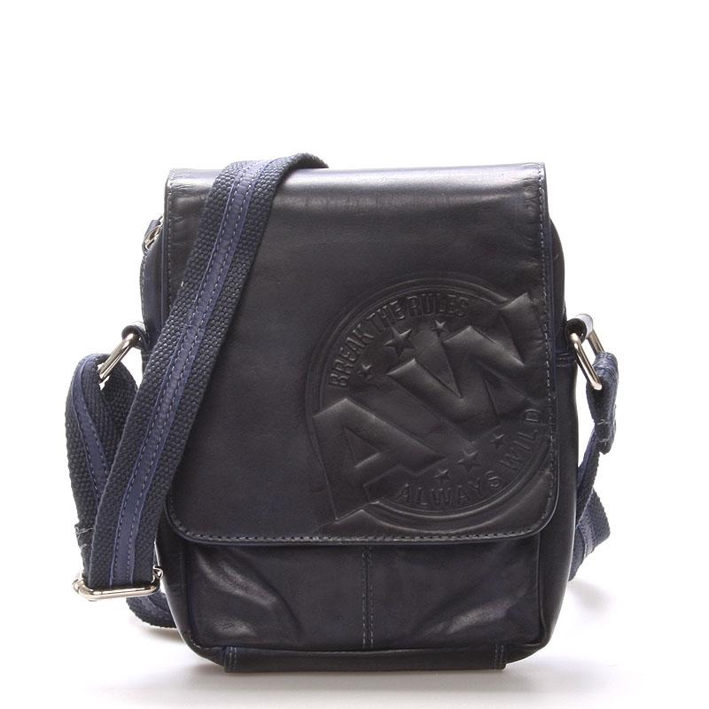 Pánská kožená taška na doklady modrá - WILD Connor