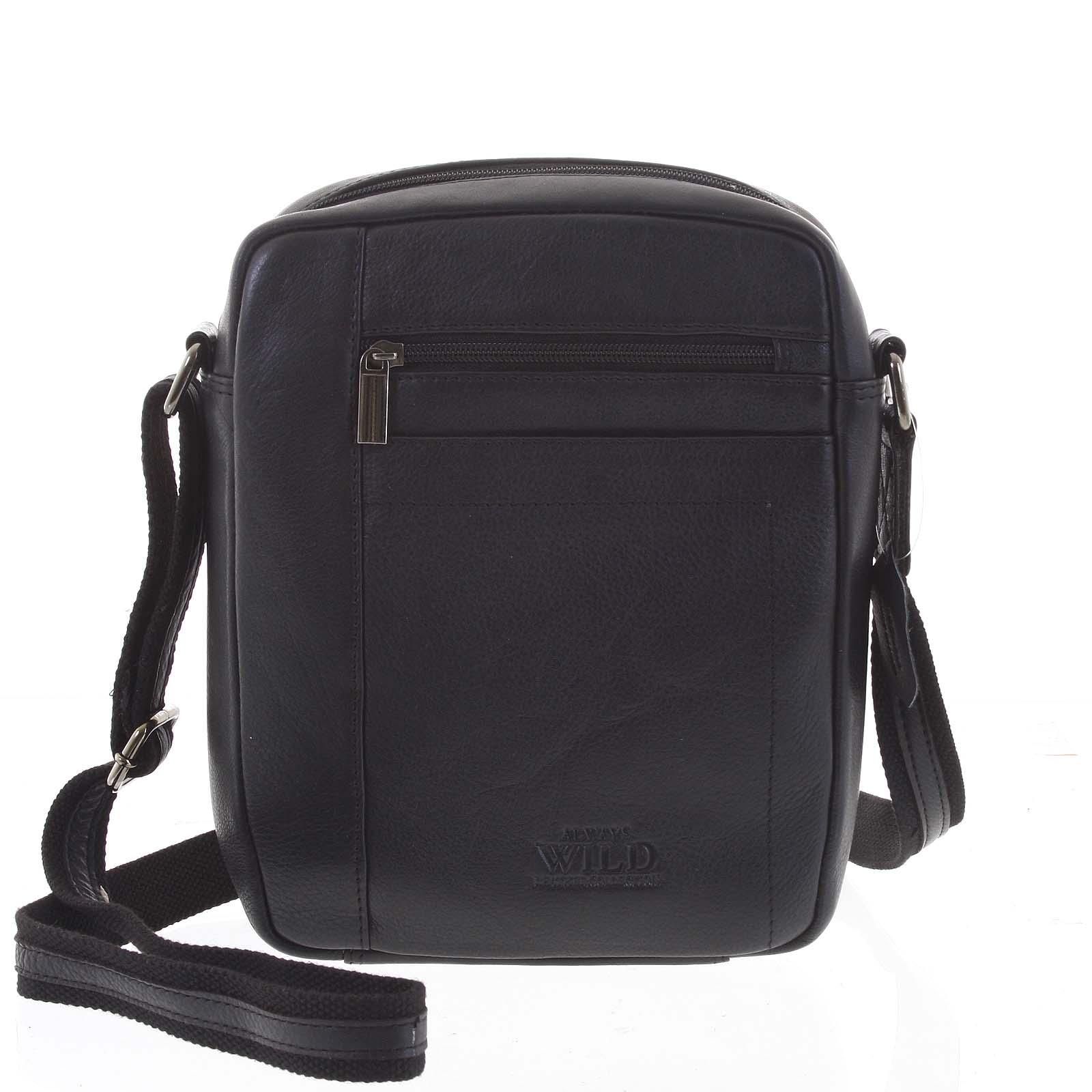 Černá elegantní pánská kožená taška - WILD Markey