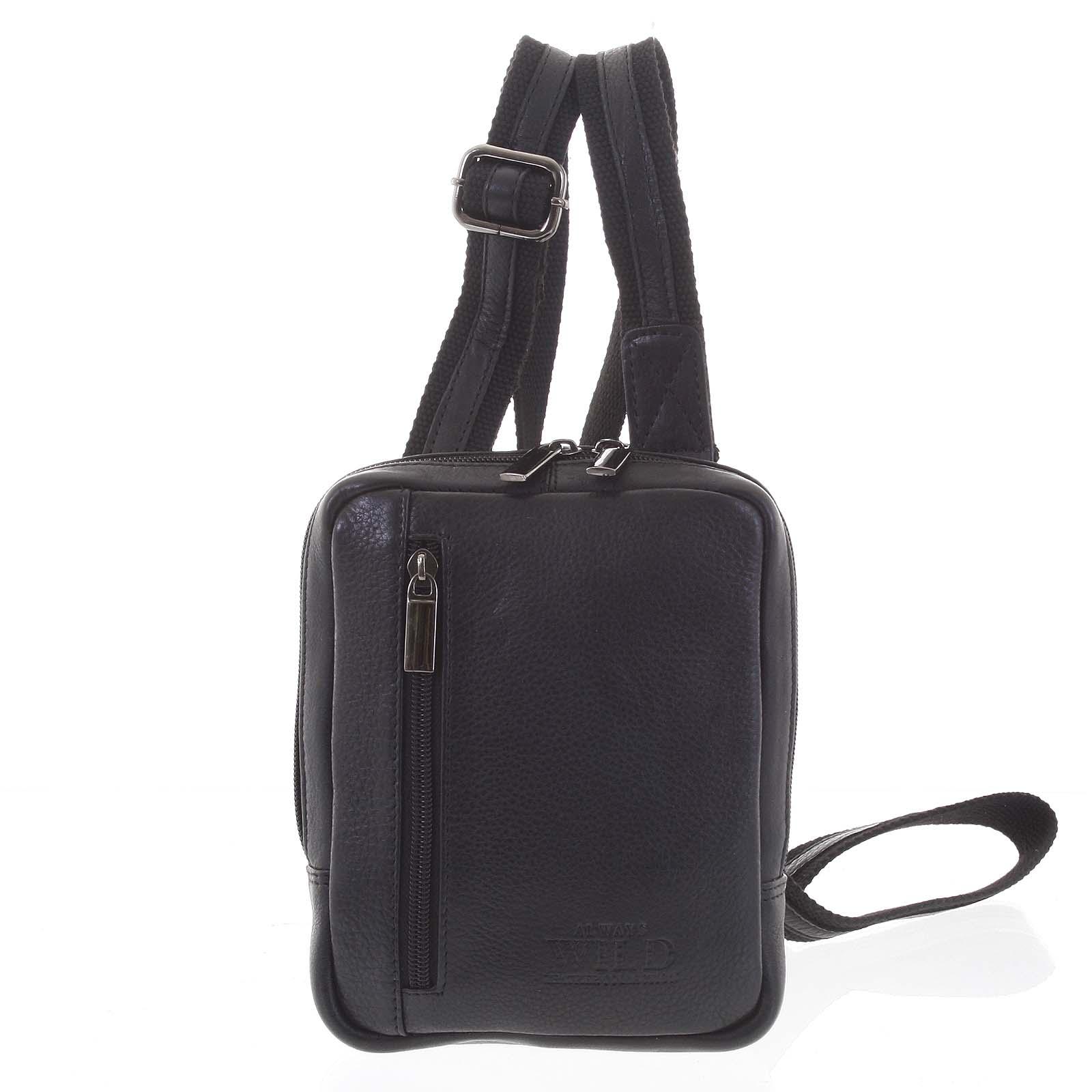 Praktická kožená kabelka černá - WILD Aron