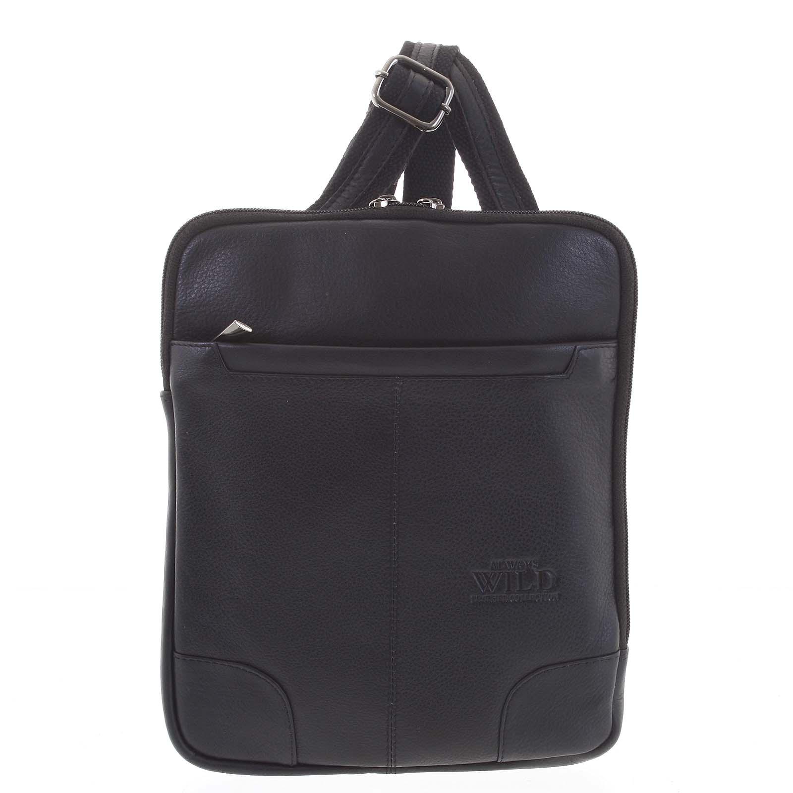 Stylová pánská kožená taška černá - WILD Eito