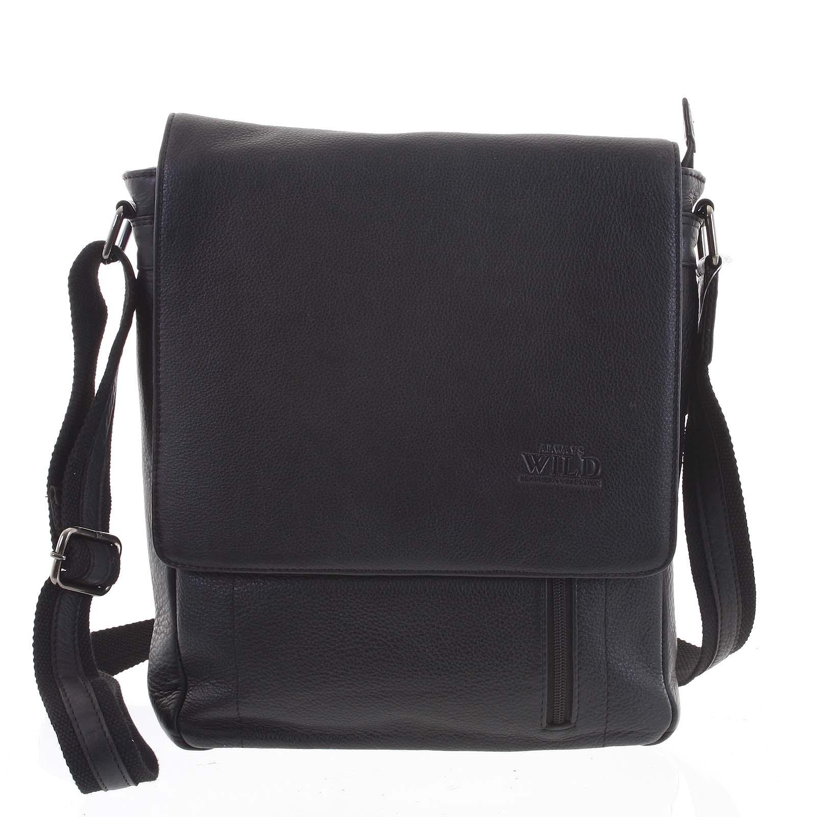 Černá elegantní pánská kožená taška - WILD Worn