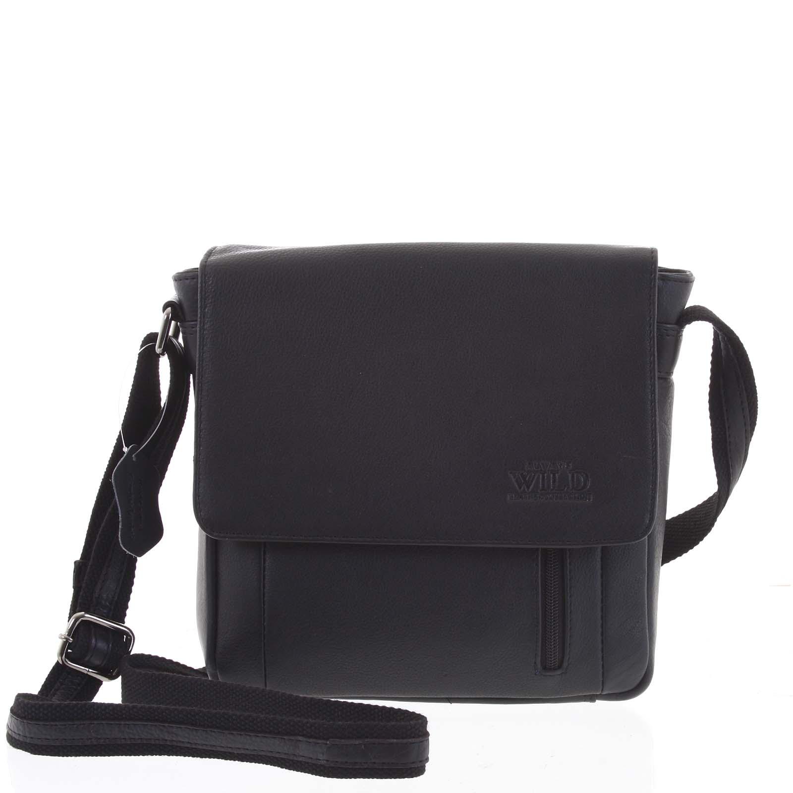 Černá elegantní pánská kožená taška - WILD Yusta