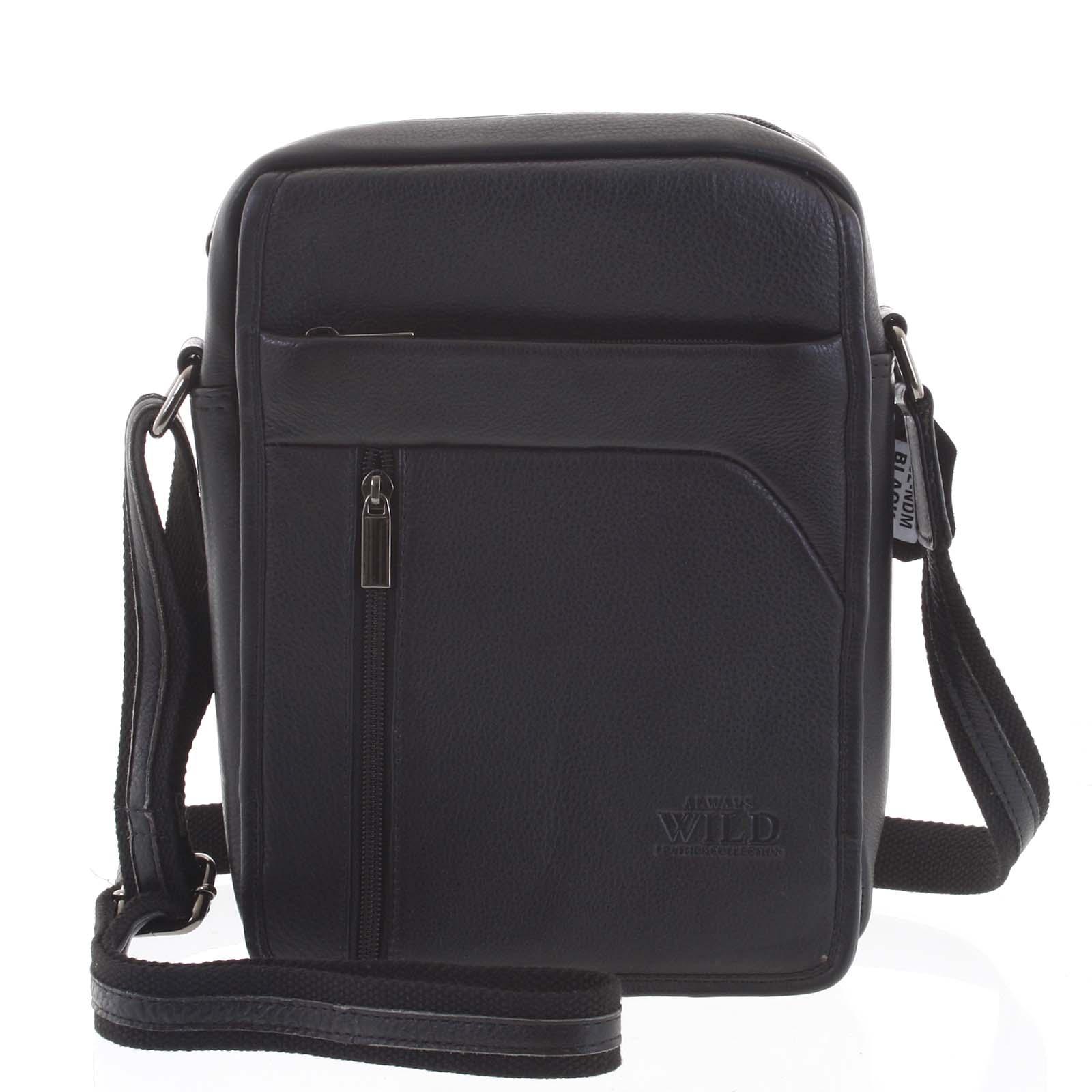 Černá pánská prostorná kožená taška - WILD Russ
