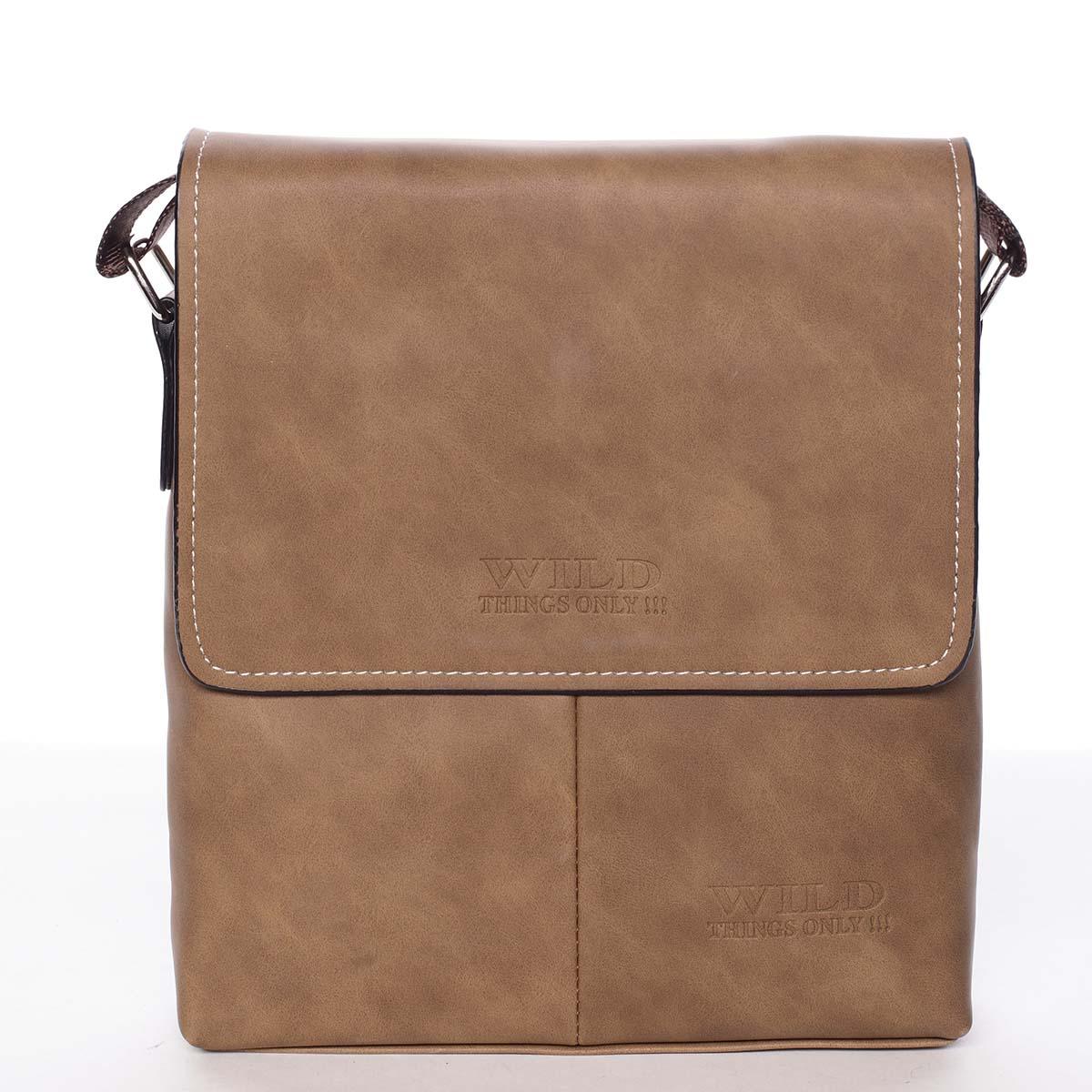 Moderní hnědá pánská taška přes rameno - WILD Adapa