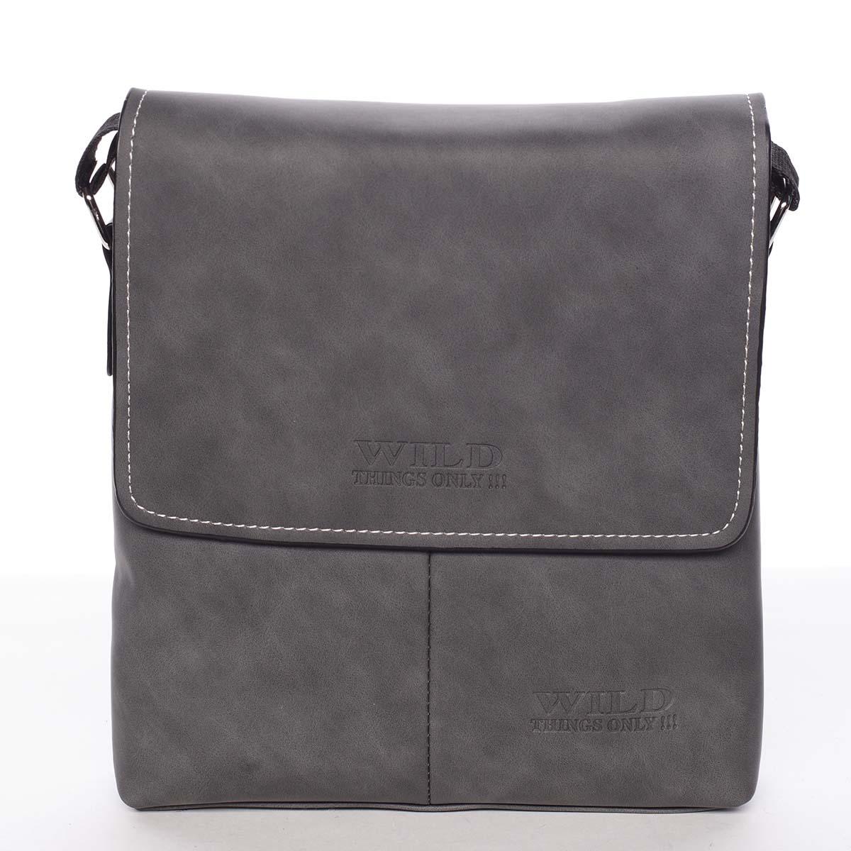 Moderní antracitová pánská taška přes rameno - WILD Adapa