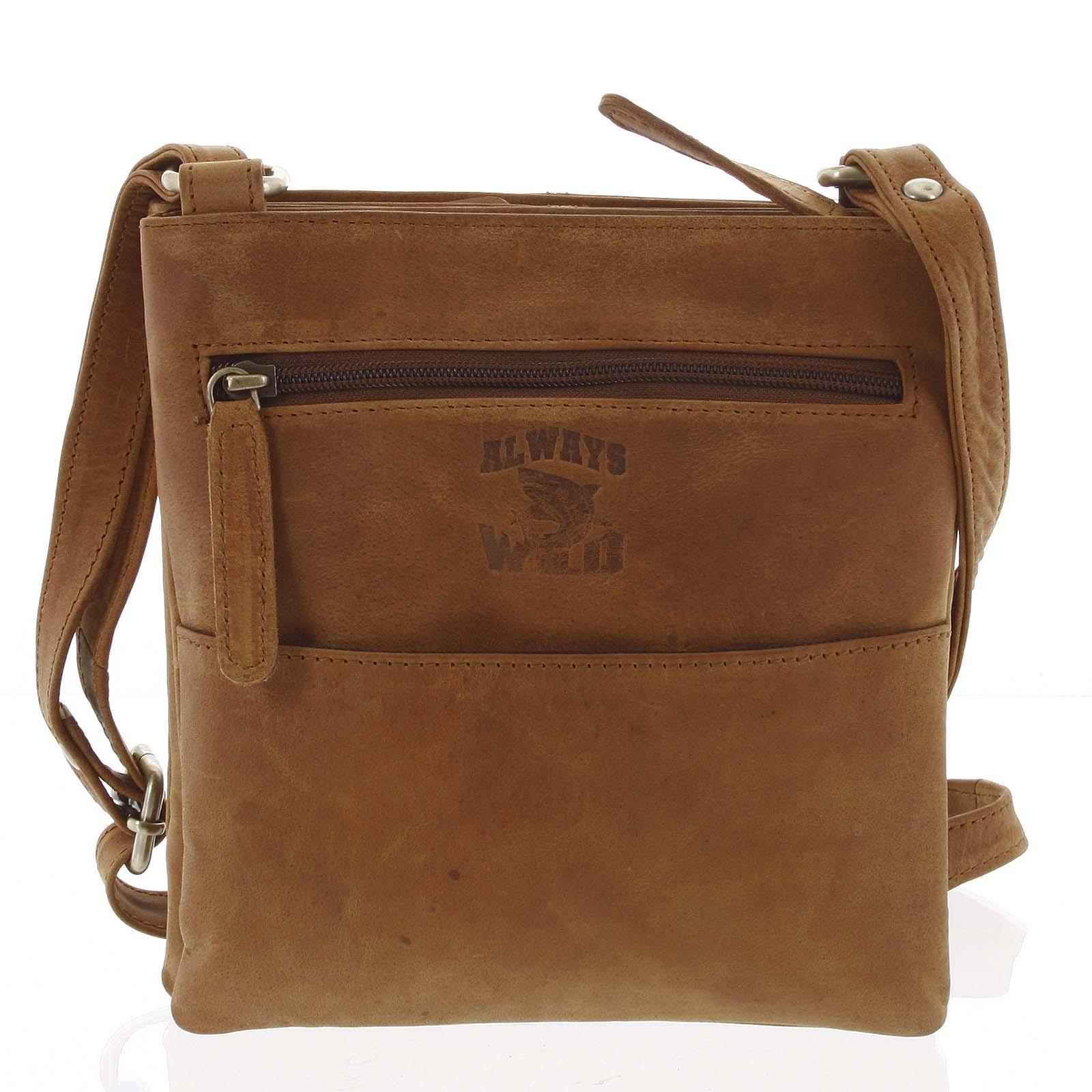 Pánská kožená taška na doklady světle hnědá - WILD Lukeny