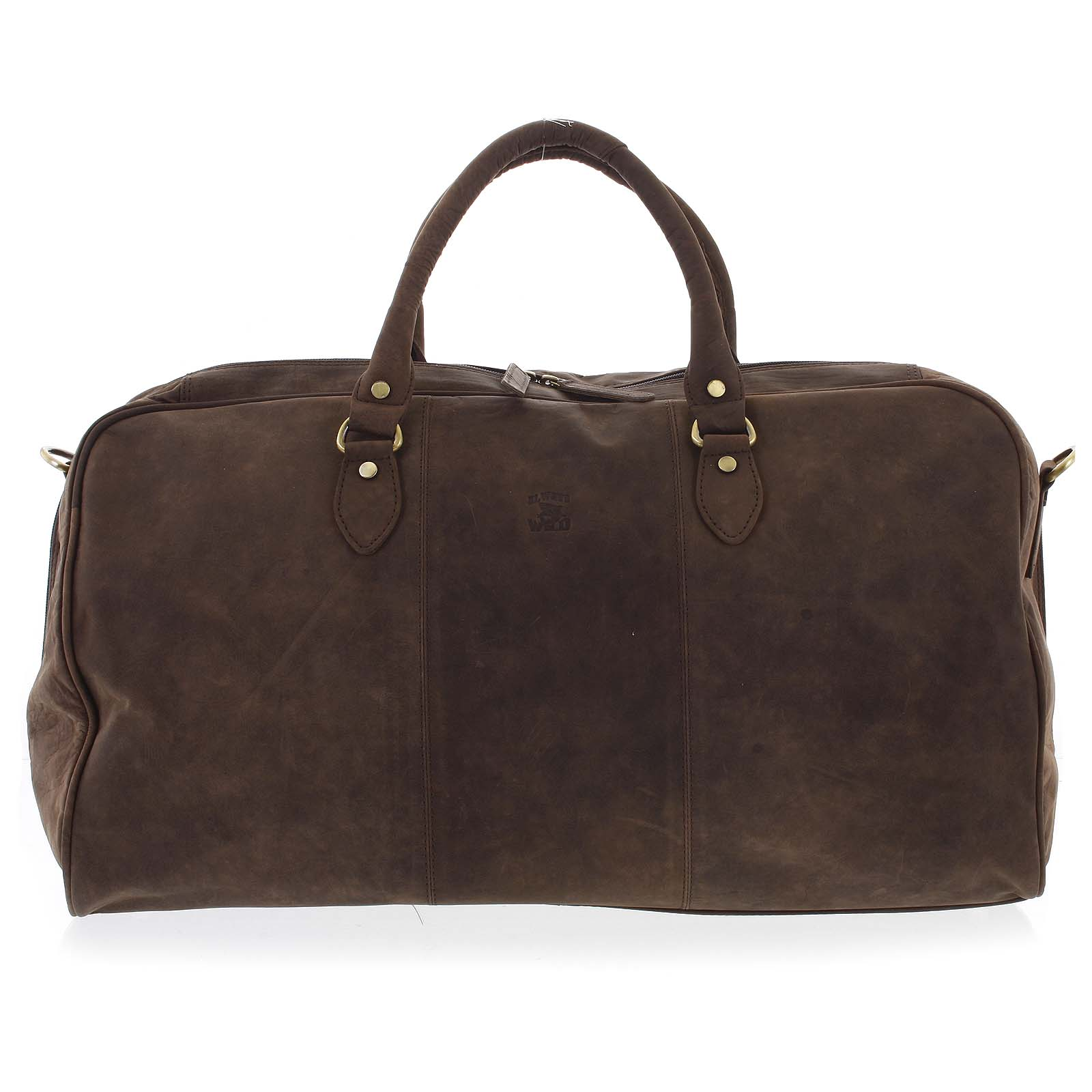 Velká cestovní kožená taška tmavě hnědá - WILD Aurimas