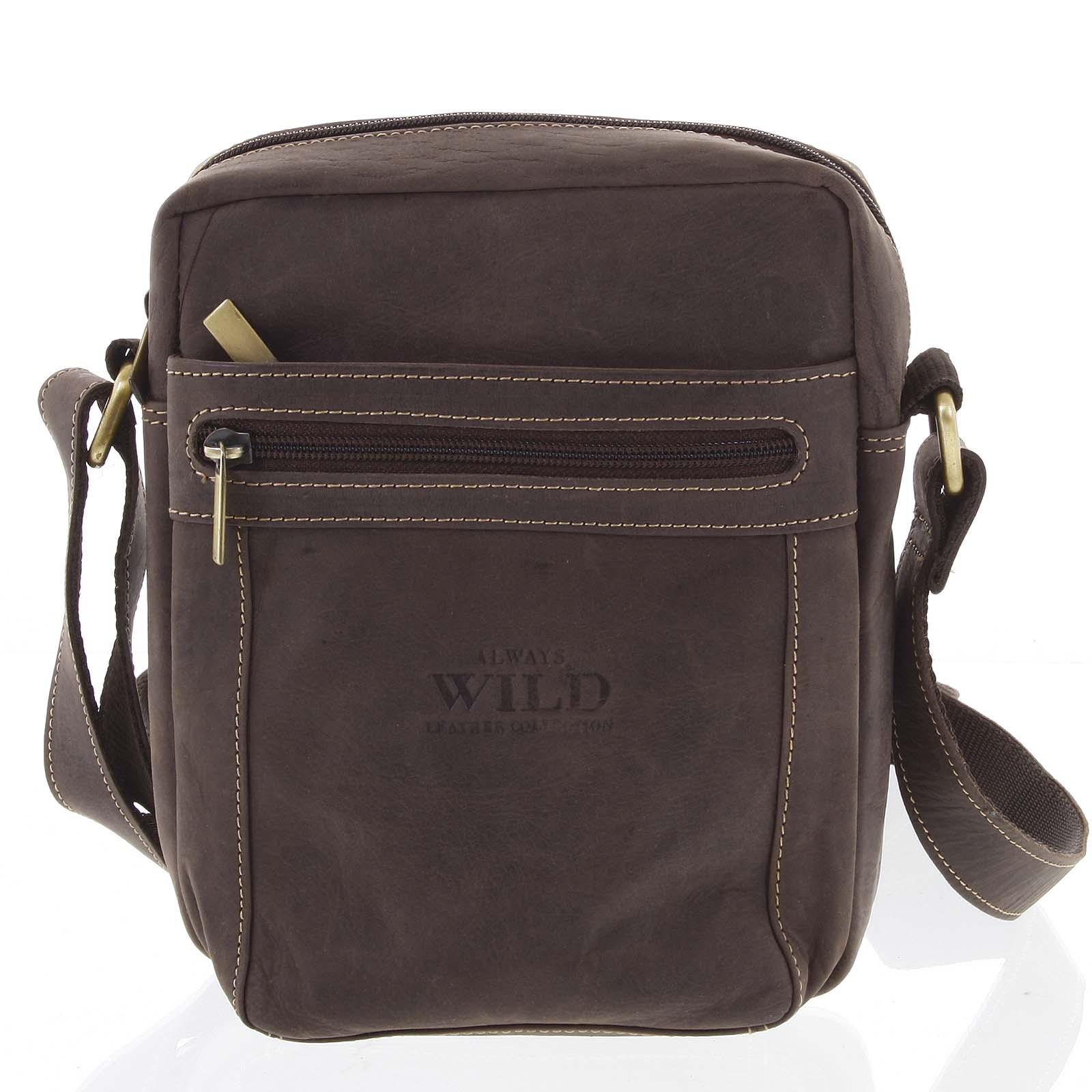 Pánská kožená crossbody taška tmavě hnědá - WILD Abilio