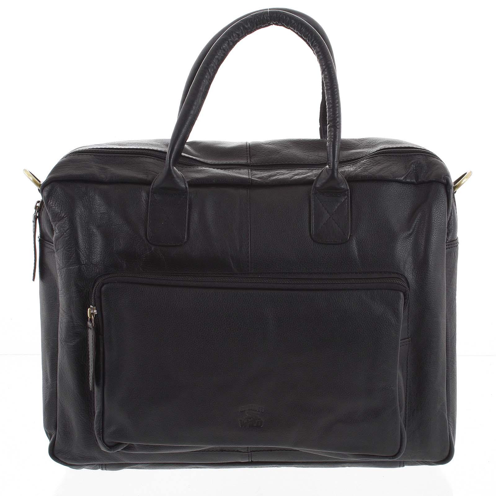 Velká pánská kožená taška černá - WILD Euclides