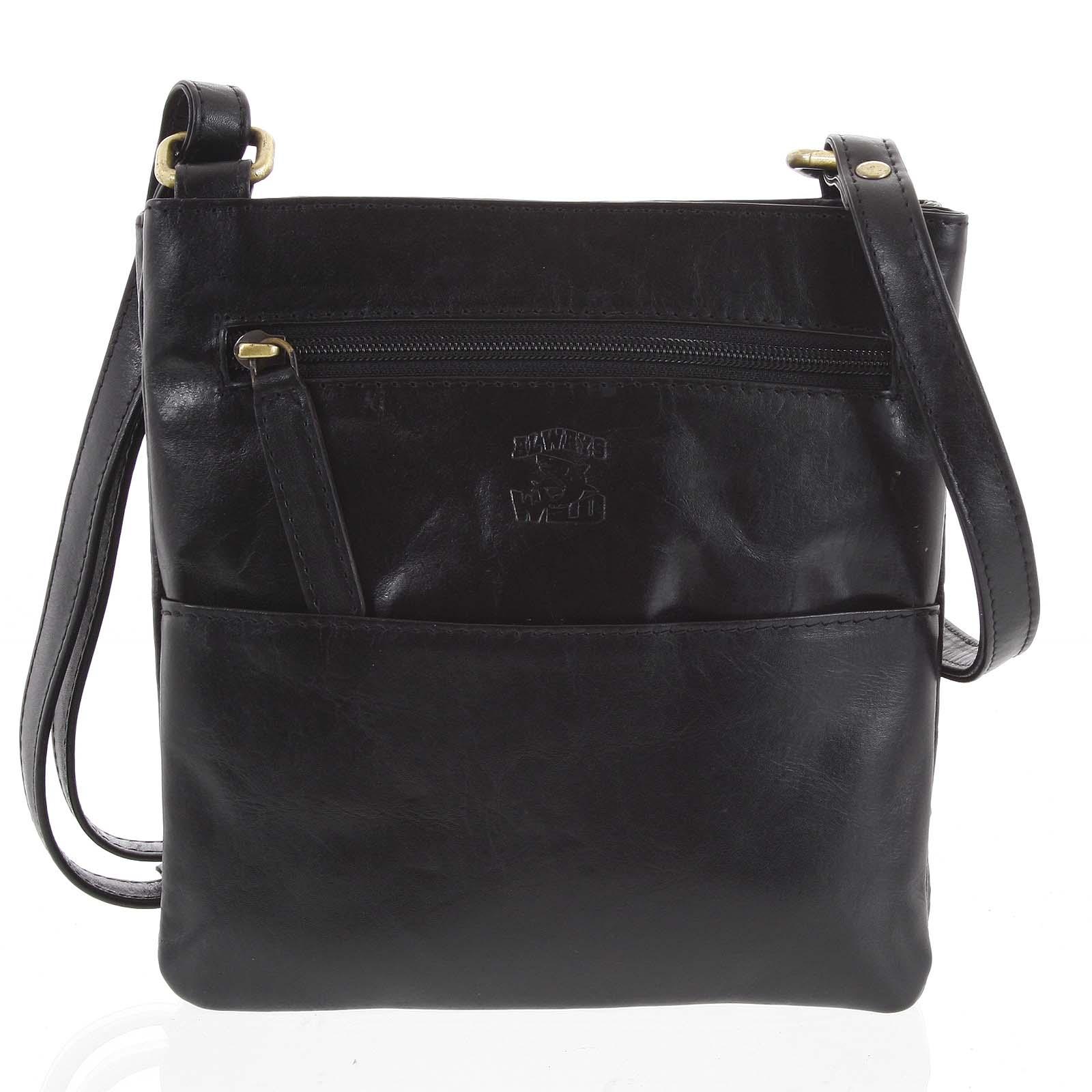 Pánská kožená taška na doklady černá - WILD Lukeny