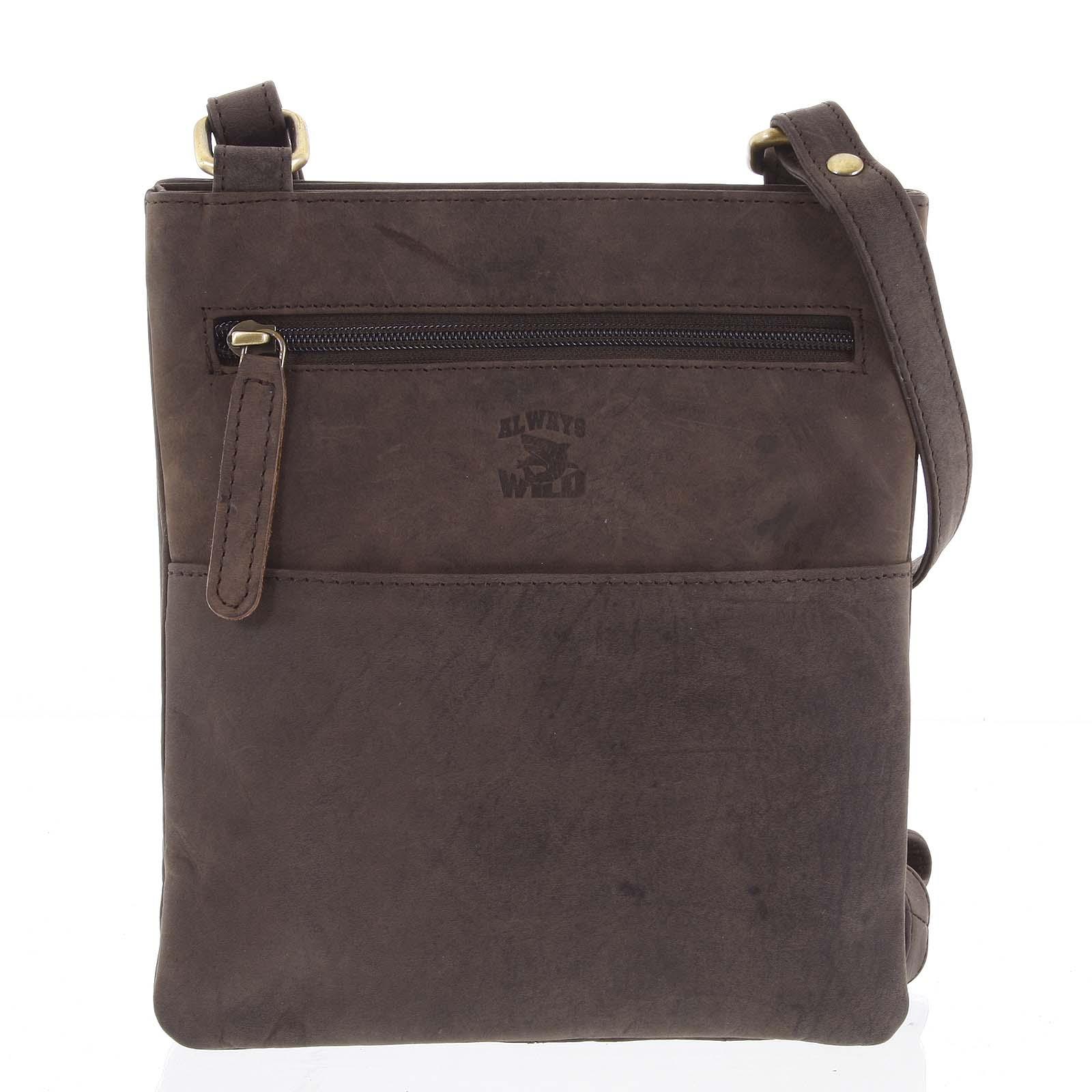 Pánská kožená crossbody taška tmavě hnědá - WILD Graison