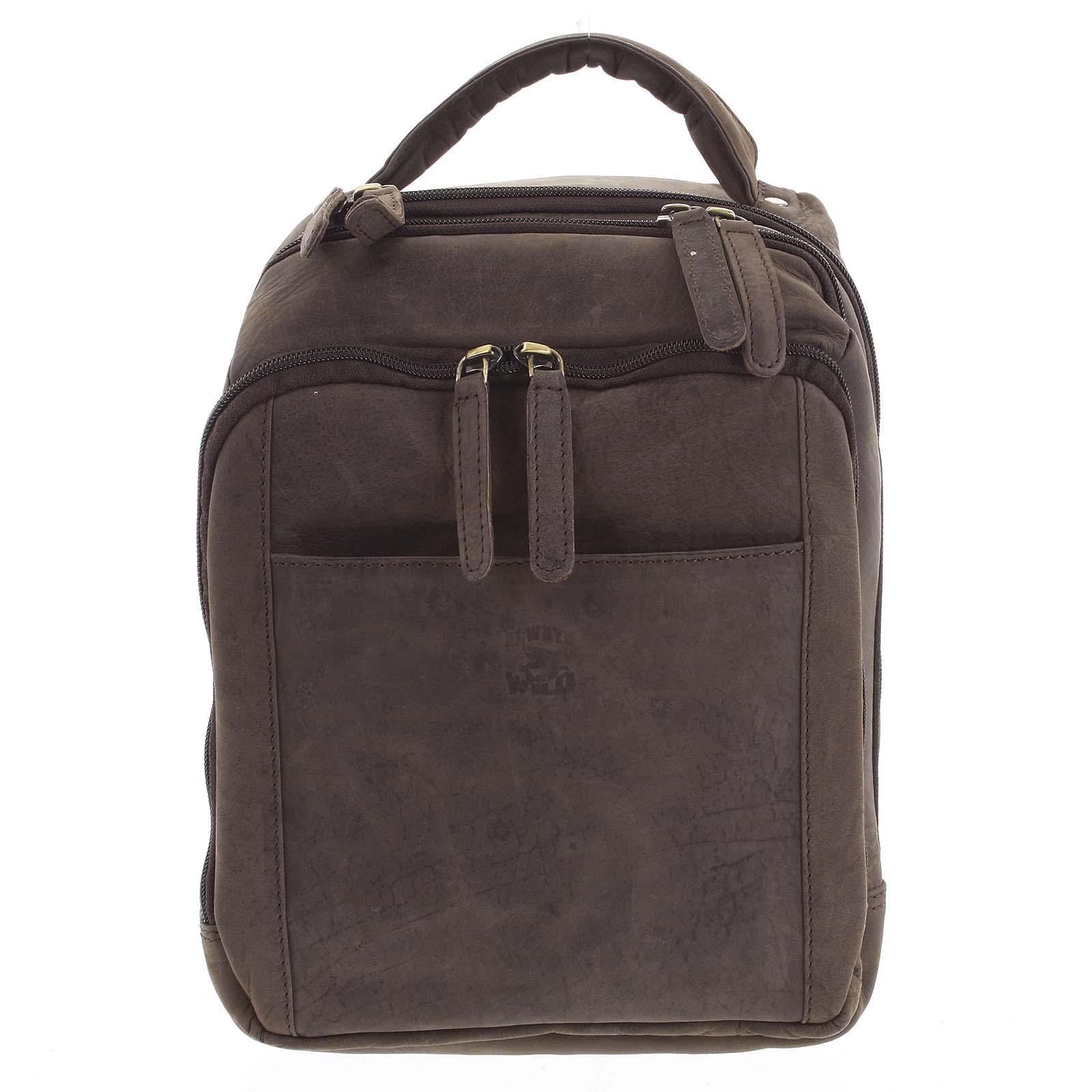 Pánský kožený batoh tmavě hnědý - WILD Josemar