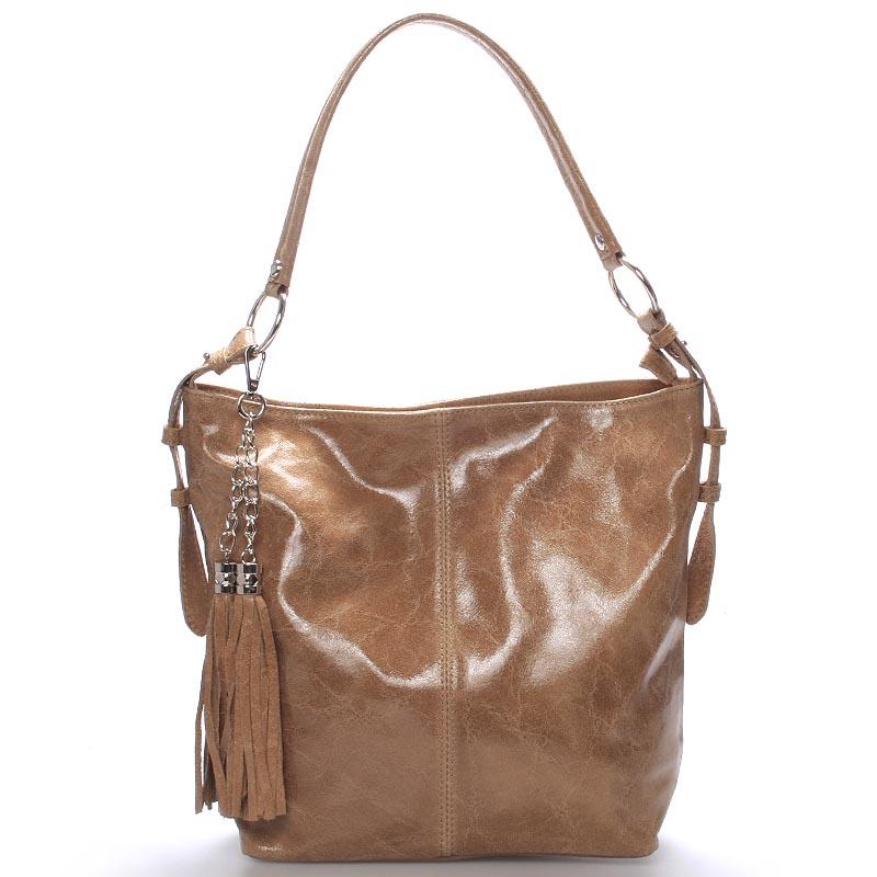 Hnědá lesklá kožená kabelka přes rameno ItalY Cameron