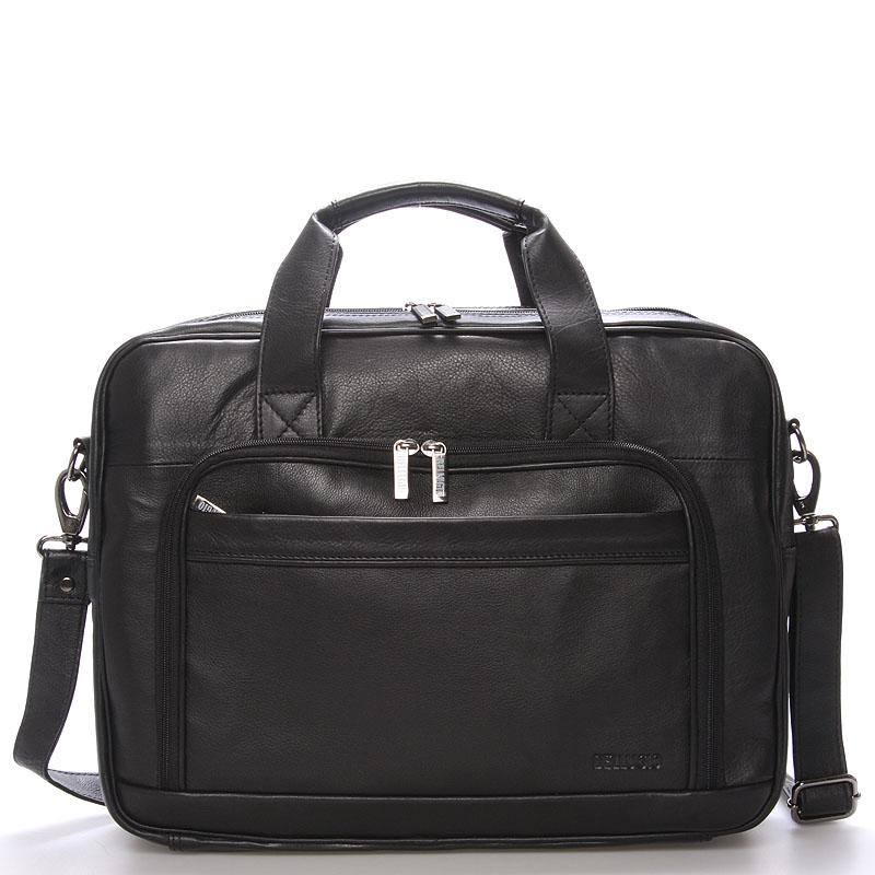 Luxusní pánská kožená taška přes rameno černá - Bellugio Lance