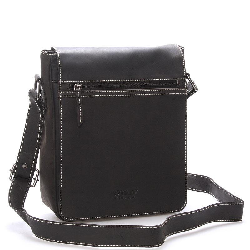 Luxusní pánská kožená taška přes rameno černá - WILD Bayley