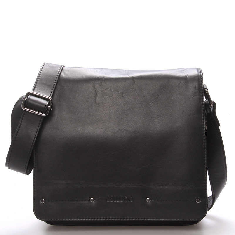 Luxusní pánská kožená taška přes rameno černá - Bellugio Baron