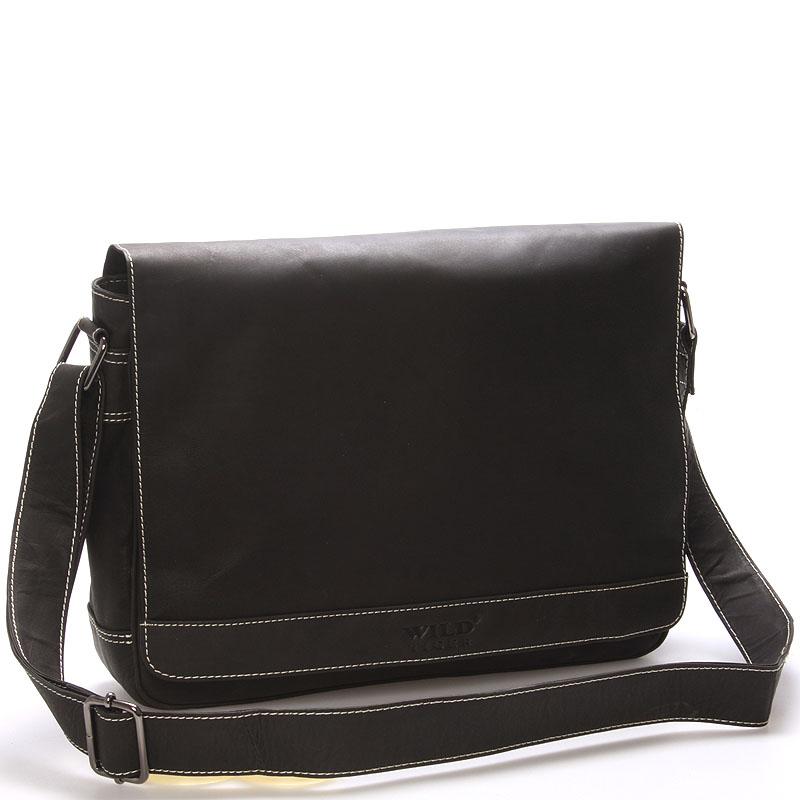 Pánská kožená taška přes rameno tmavě hnědá - WILD Varden