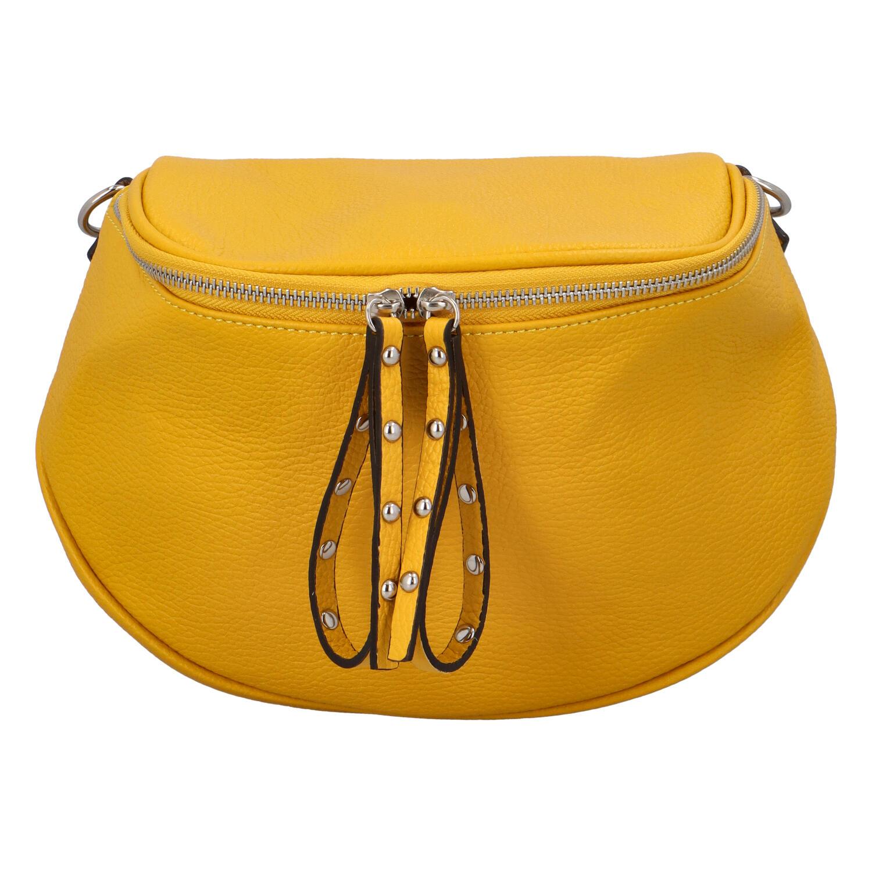 Luxusní kožená kabelka ledvinka žlutá - ItalY Banana
