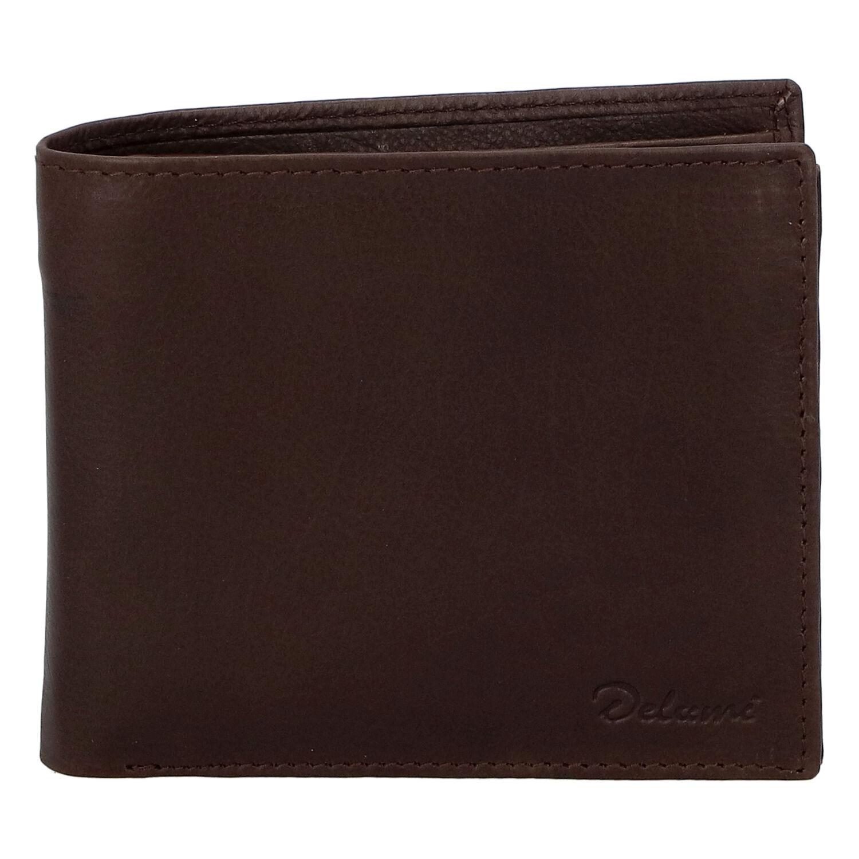 Levně Pánská kožená volná tmavě hnědá peněženka - Delami 8222