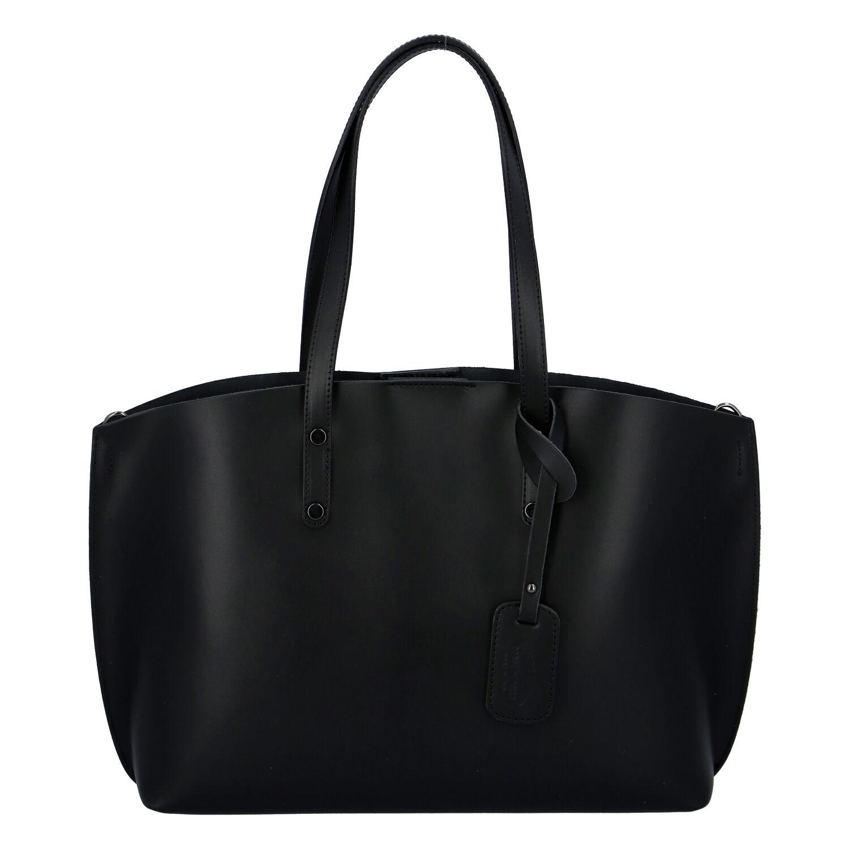 Dámská kožená kabelka černá - ItalY Jordana Two černá