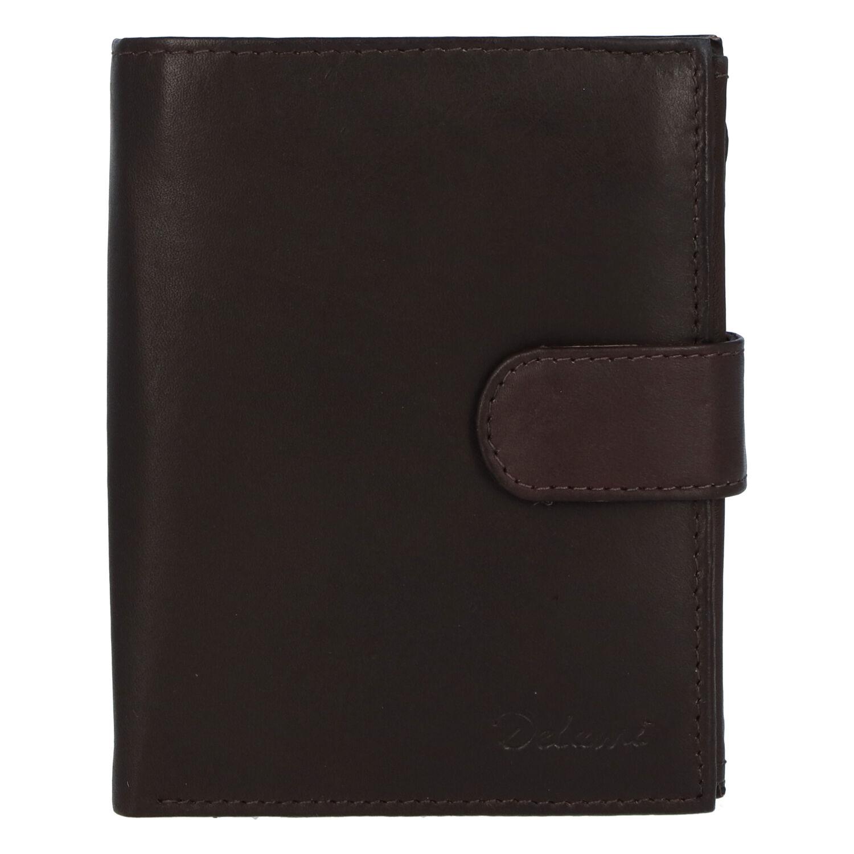 Pánská kožená tmavě hnědá peněženka se zápinkou - Delami Lunivers hnědá
