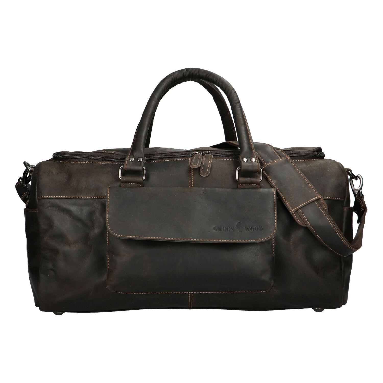 Kožená cestovní taška tmavě hnědá - Greenwood Moper hnědá