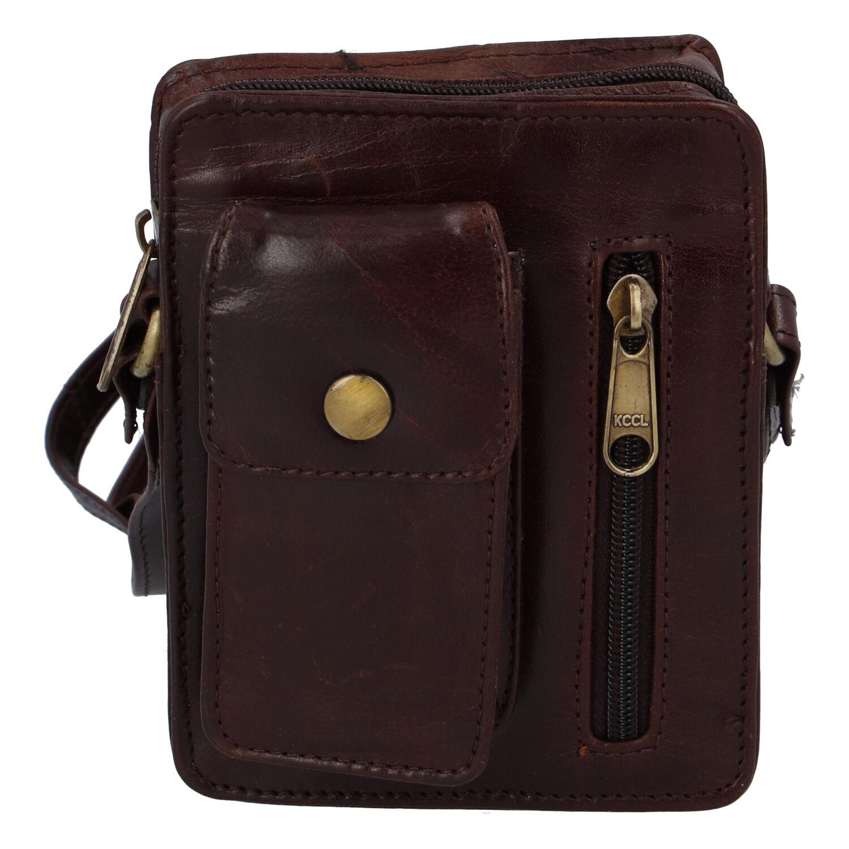 Pánská kožená kapsa na doklady červenohnědá - Tomas Furry hnědá