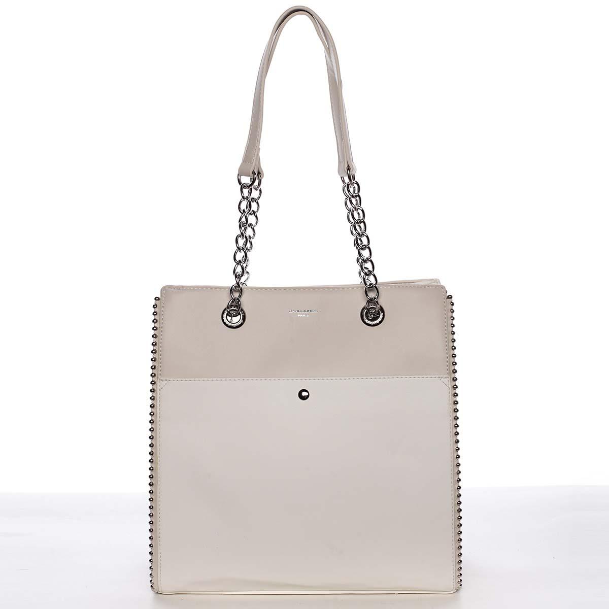 Luxusní a originální dámská bílá kabelka přes rameno - David Jones Mishel bílá
