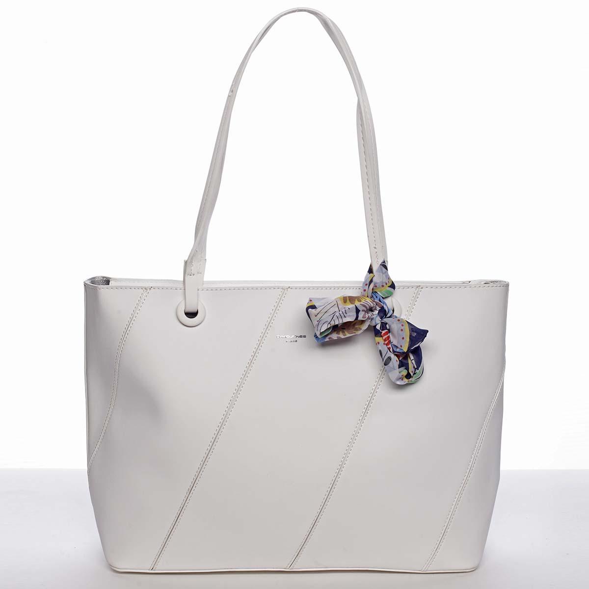 Velká elegantní a originální dámská bílá kabelka přes rameno - David Jones Keiko bílá