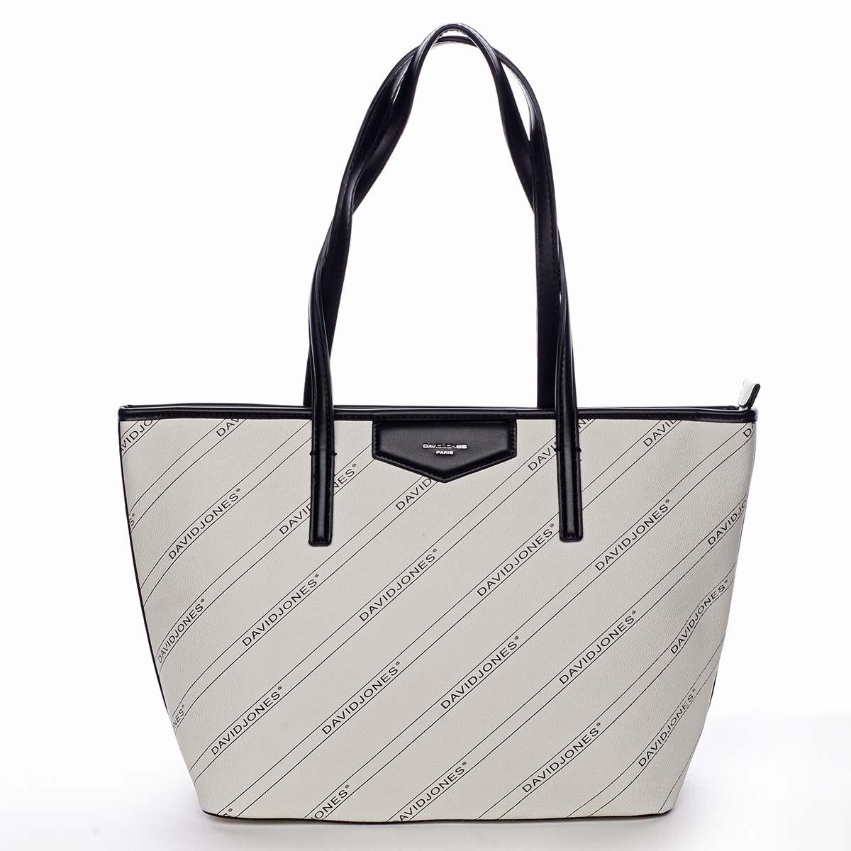 Velká krémově bílá moderní kabelka přes rameno - David Jones Abisag bílá